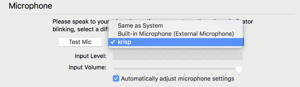 choose krisp as microphone