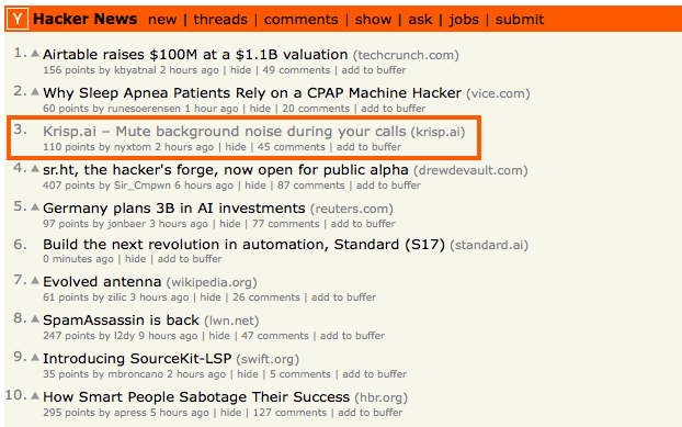 krisp top 3 in hackernews