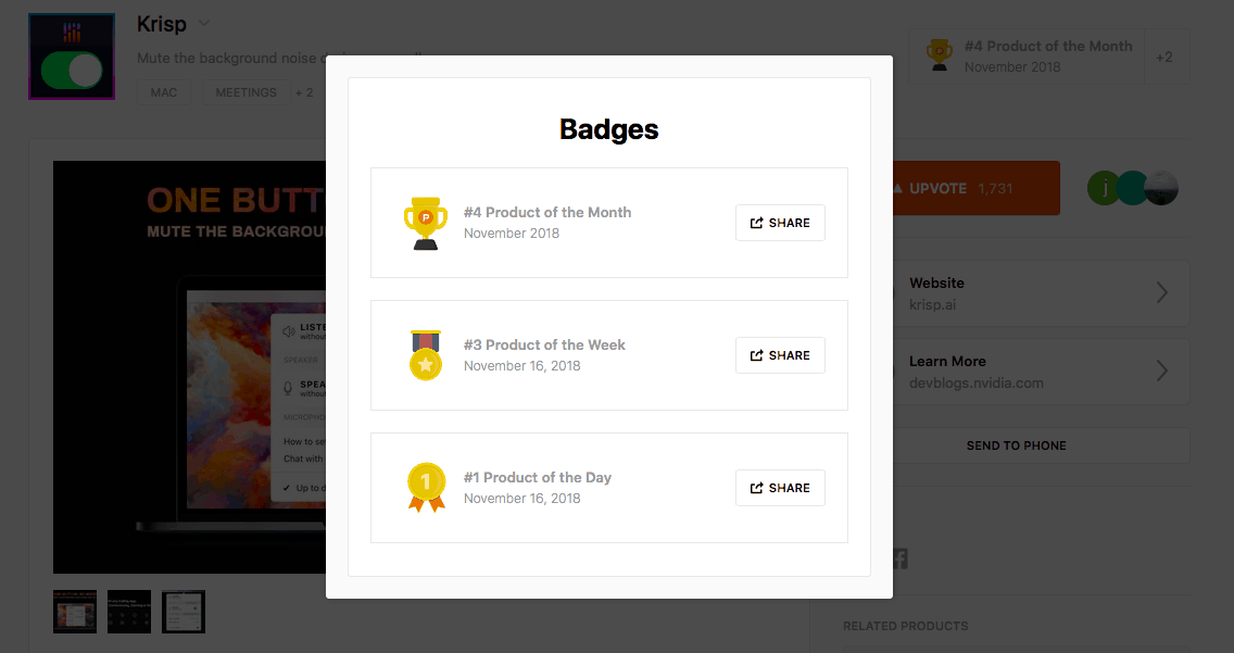 krisp product hunt badges