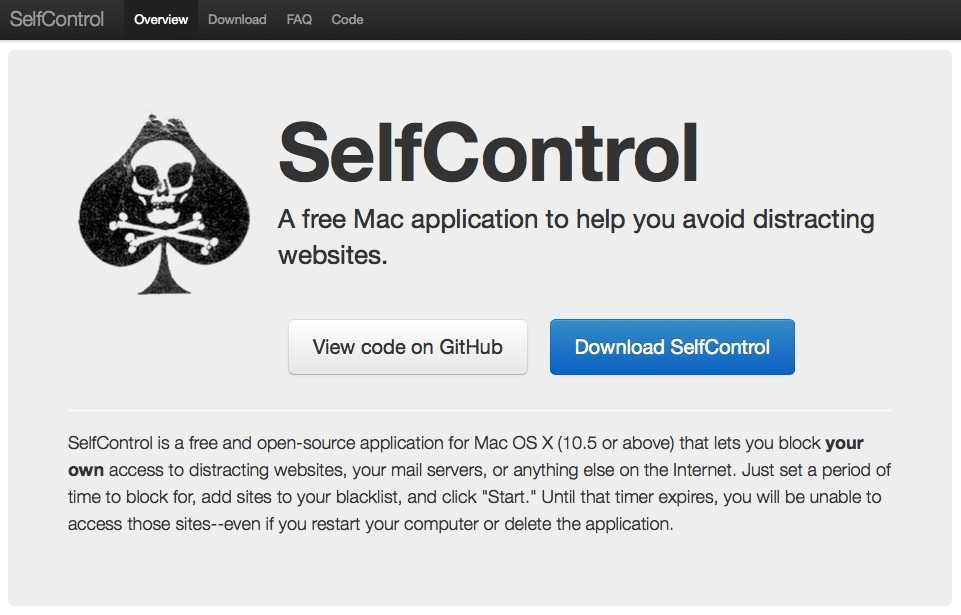 selfcontrol app for mac productivity apps