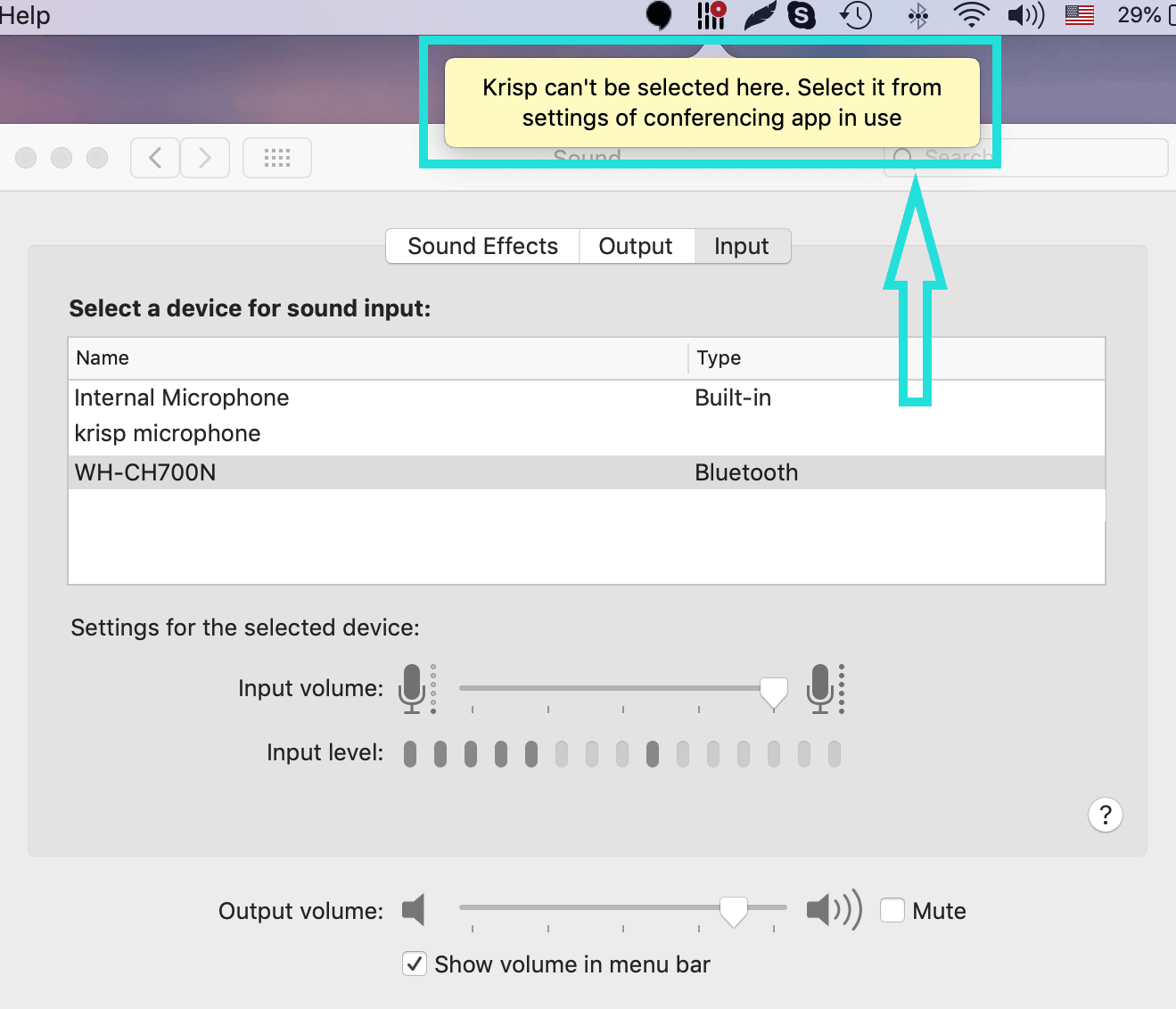krisp sound preferences popup