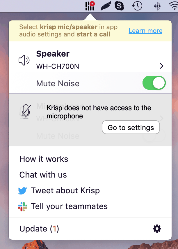 krisp microphone access pop up