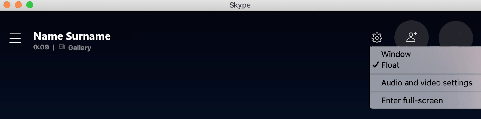 Skype settings during call