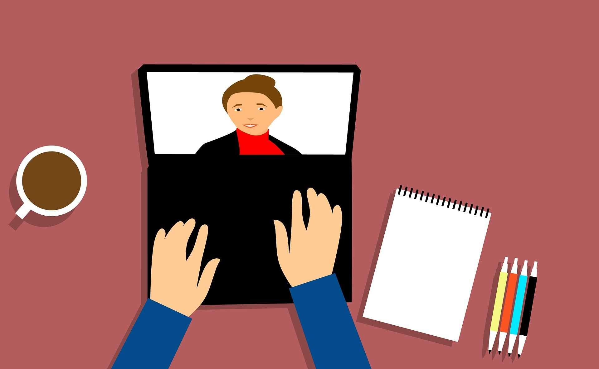 person having video conferencing