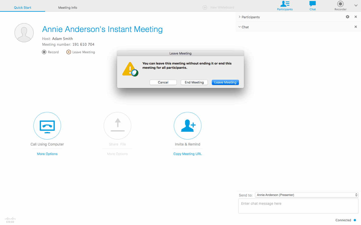 leave webex meeting
