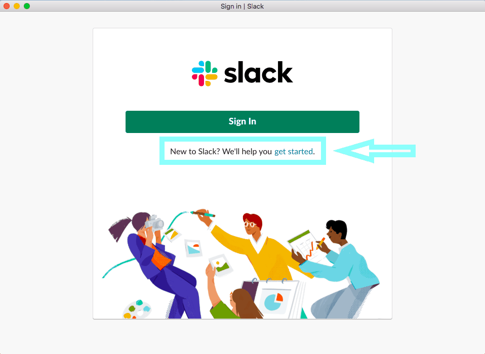 slack getting started screen
