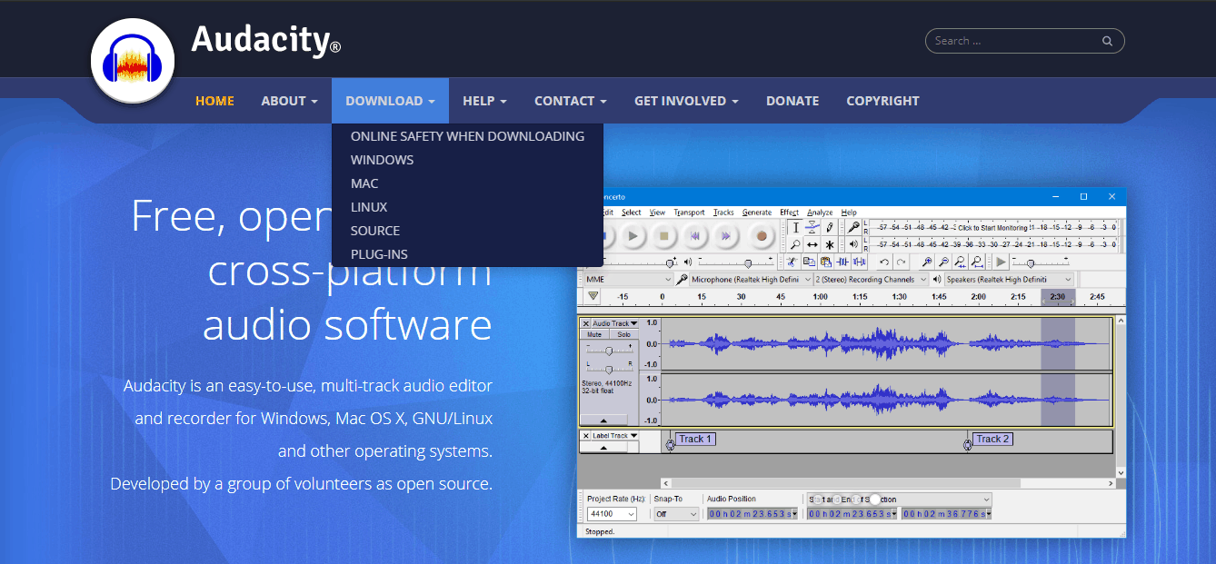 audacity for recording audio