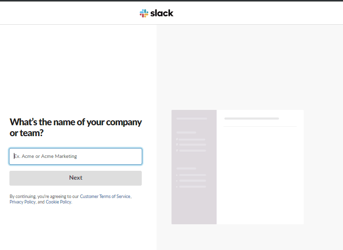 creating workspace name in slack