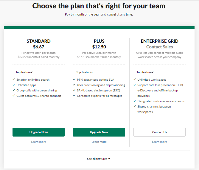 slack plan options
