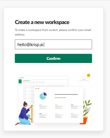signing up for creating workspace in slack