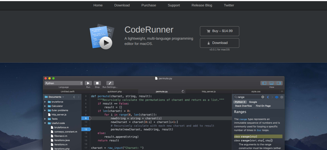 code runner free applications for mac