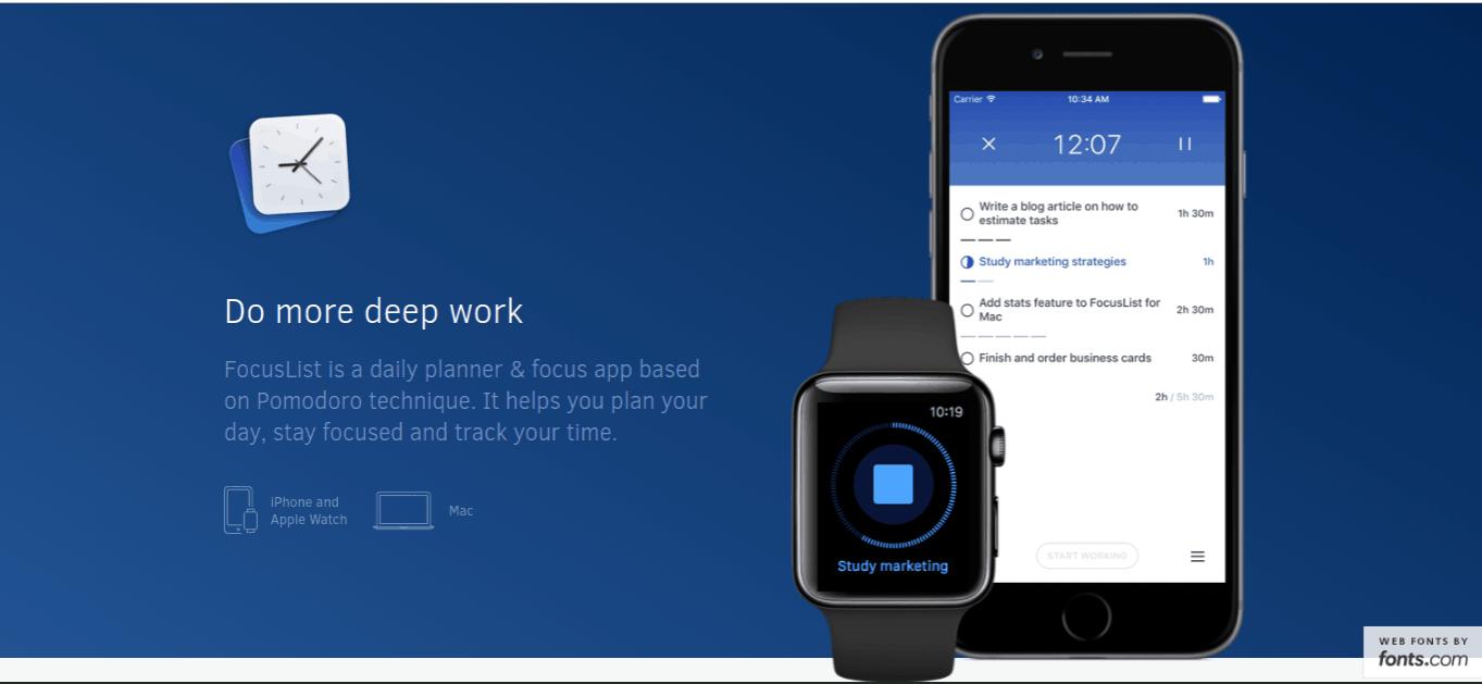 focuslist productivity apps
