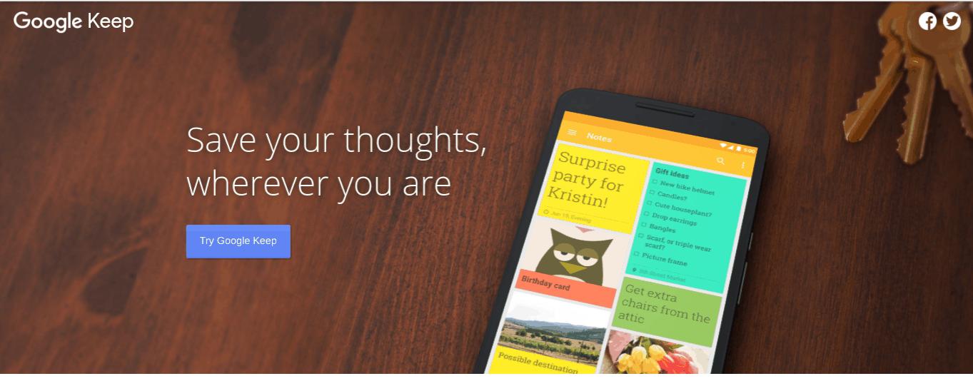 google keep productivity apps