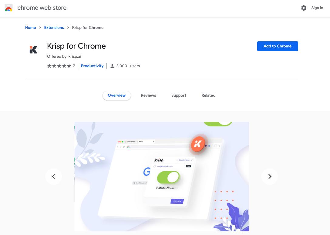 krisp for chrome web store