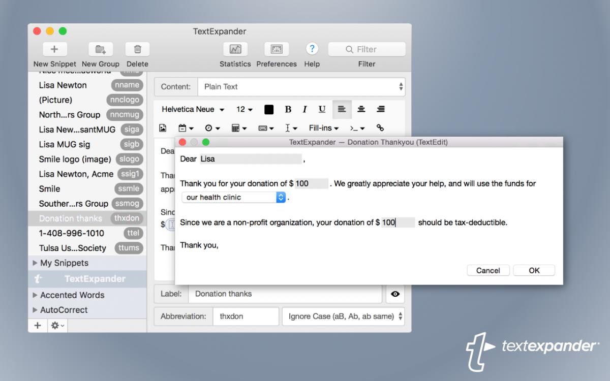 TextExpander app for Mac