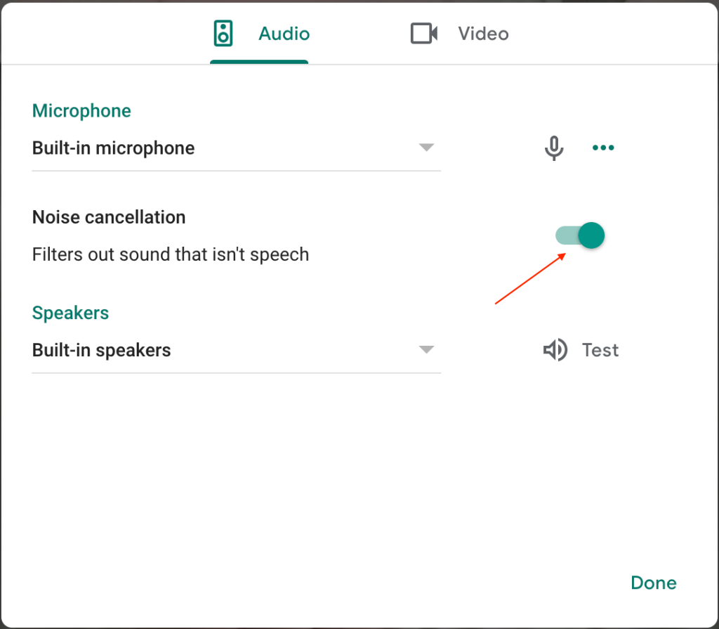 turn on and off google meet noise cancellation