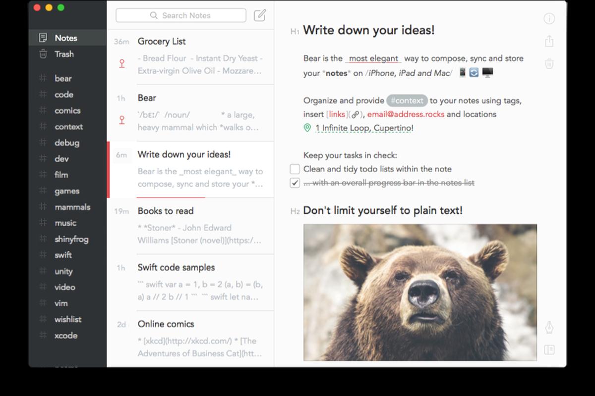 bear app for mac