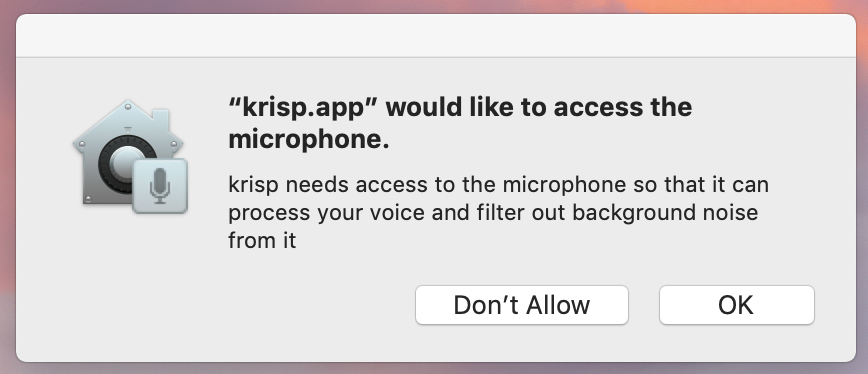microphone access popup