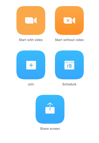zoom call orange and blue buttons screenshot